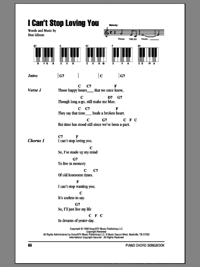I Can't Stop Loving You sheet music for piano solo (chords, lyrics, melody) by Don Gibson, intermediate piano (chords, lyrics, melody)