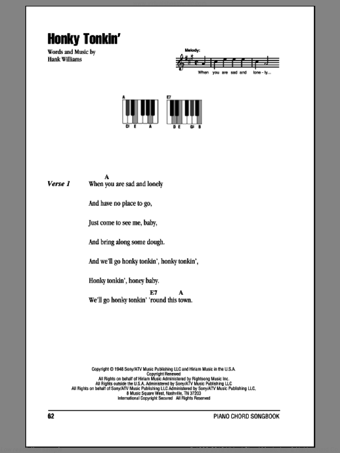Honky Tonkin' sheet music for piano solo (chords, lyrics, melody) by Hank Williams. Score Image Preview.