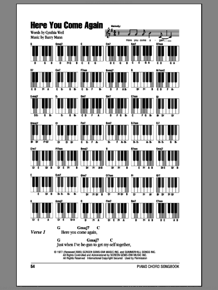 Here You Come Again sheet music for piano solo (chords, lyrics, melody) by Cynthia Weil, Dolly Parton and Barry Mann. Score Image Preview.