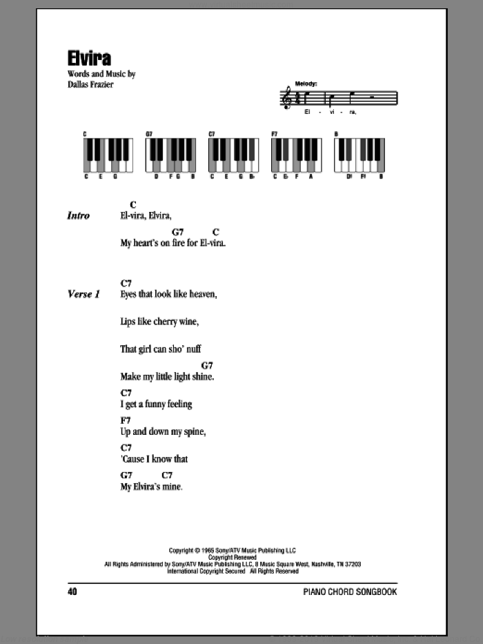 Elvira sheet music for piano solo (chords, lyrics, melody) by Oak Ridge Boys and Dallas Frazier, intermediate piano (chords, lyrics, melody)