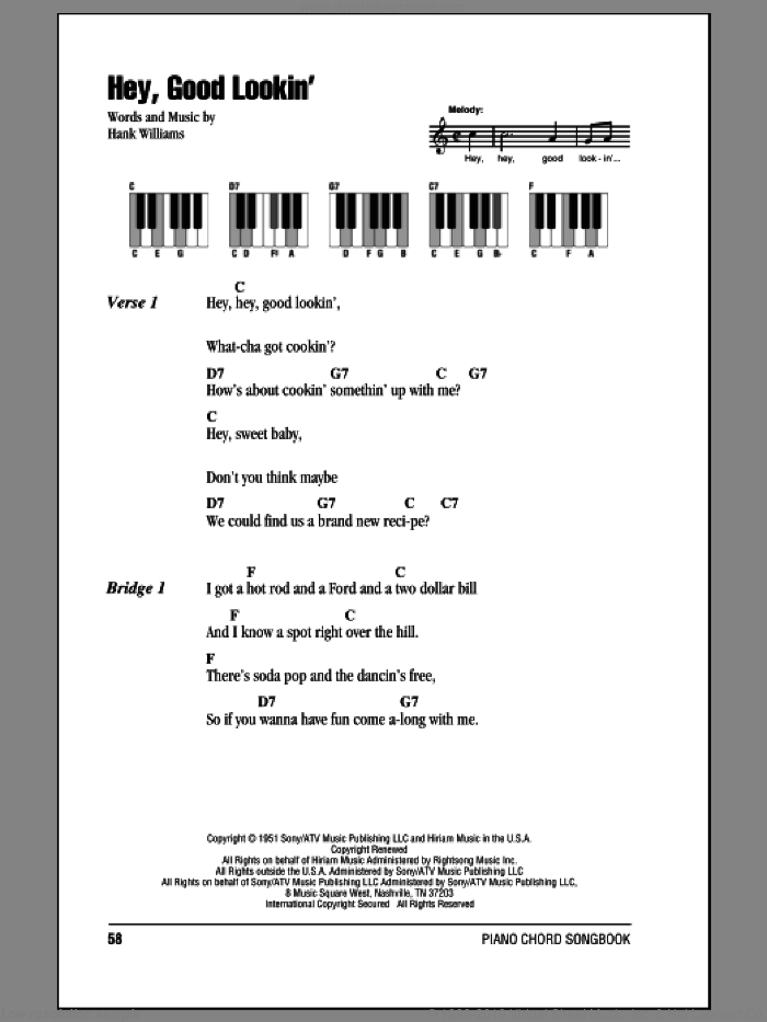 Hey, Good Lookin' sheet music for piano solo (chords, lyrics, melody) by Hank Williams, intermediate piano (chords, lyrics, melody). Score Image Preview.