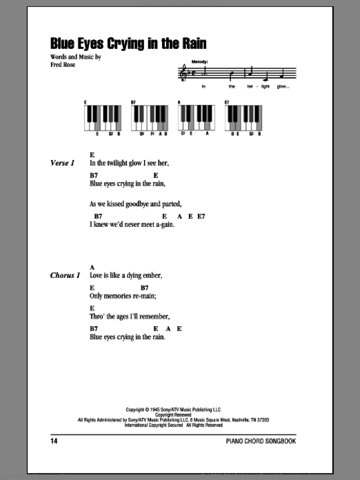 Blue Eyes Crying In The Rain sheet music for piano solo (chords, lyrics, melody) by Willie Nelson and Fred Rose. Score Image Preview.