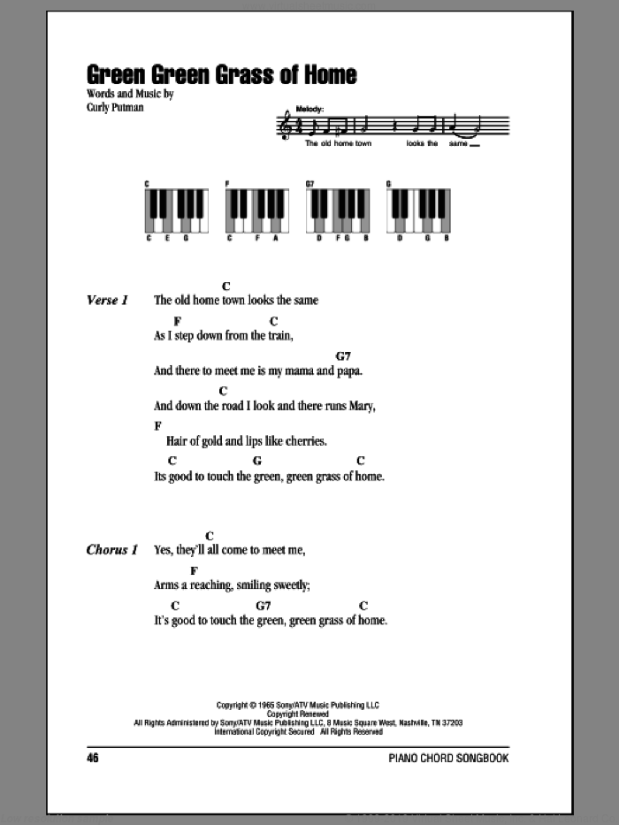 Green Green Grass Of Home sheet music for piano solo (chords, lyrics, melody) by Porter Wagoner and Curly Putman, intermediate piano (chords, lyrics, melody)