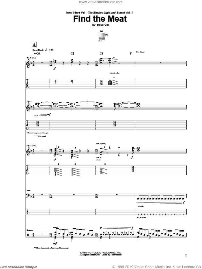 Find The Meat sheet music for guitar (tablature) by Steve Vai. Score Image Preview.
