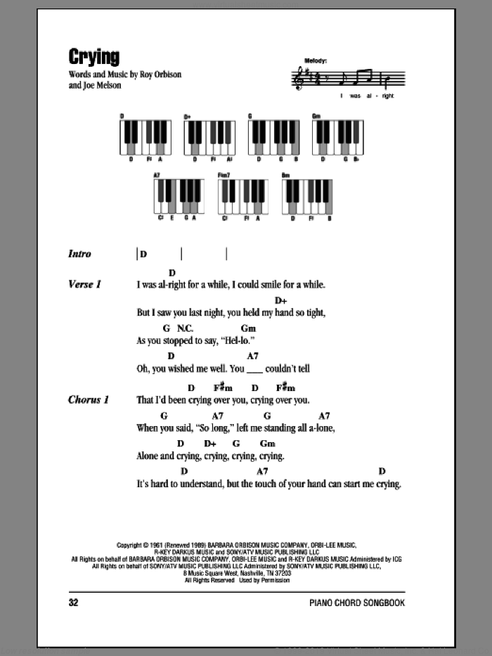 Crying sheet music for piano solo (chords, lyrics, melody) by Roy Orbison and Joe Melson, intermediate piano (chords, lyrics, melody)