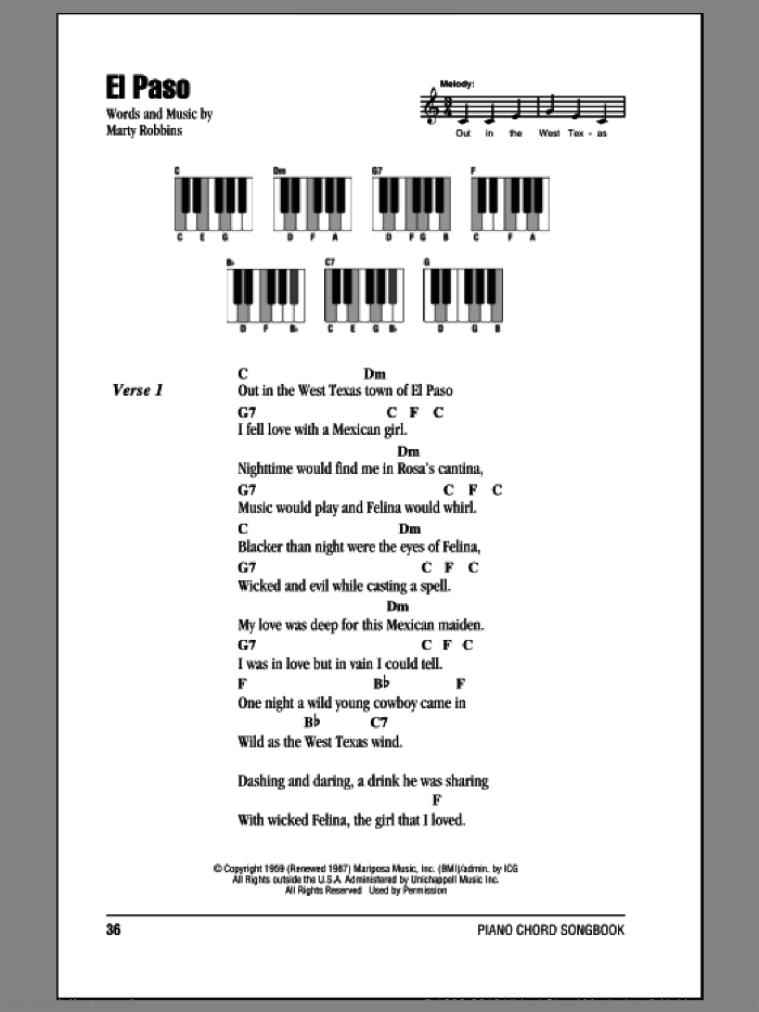 El Paso sheet music for piano solo (chords, lyrics, melody) by Marty Robbins