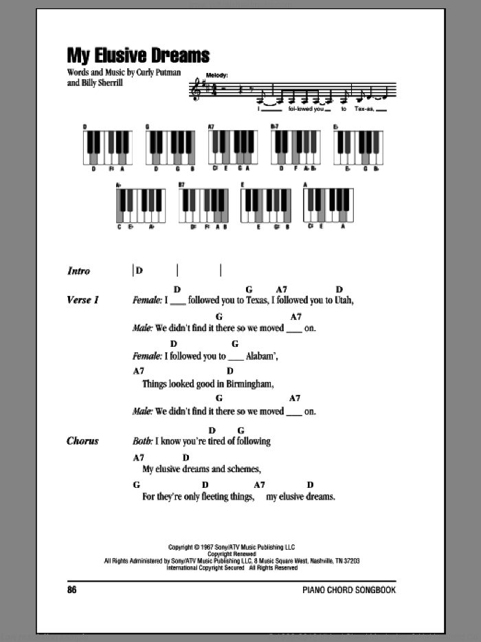 My Elusive Dreams sheet music for piano solo (chords, lyrics, melody) by Curly Putman and Billy Sherrill. Score Image Preview.
