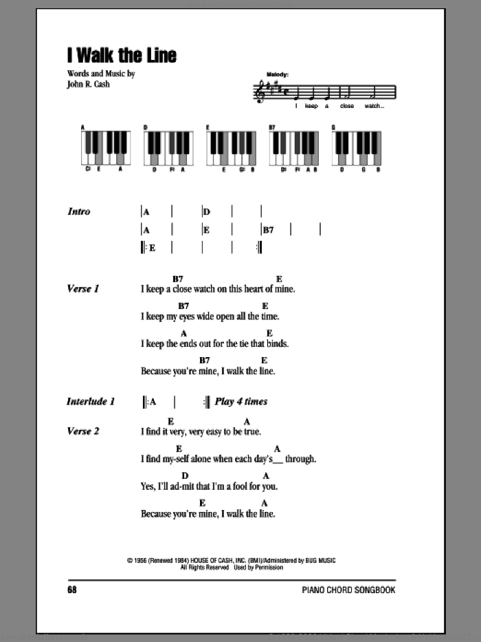 I Walk The Line sheet music for piano solo (chords, lyrics, melody) by Johnny Cash. Score Image Preview.