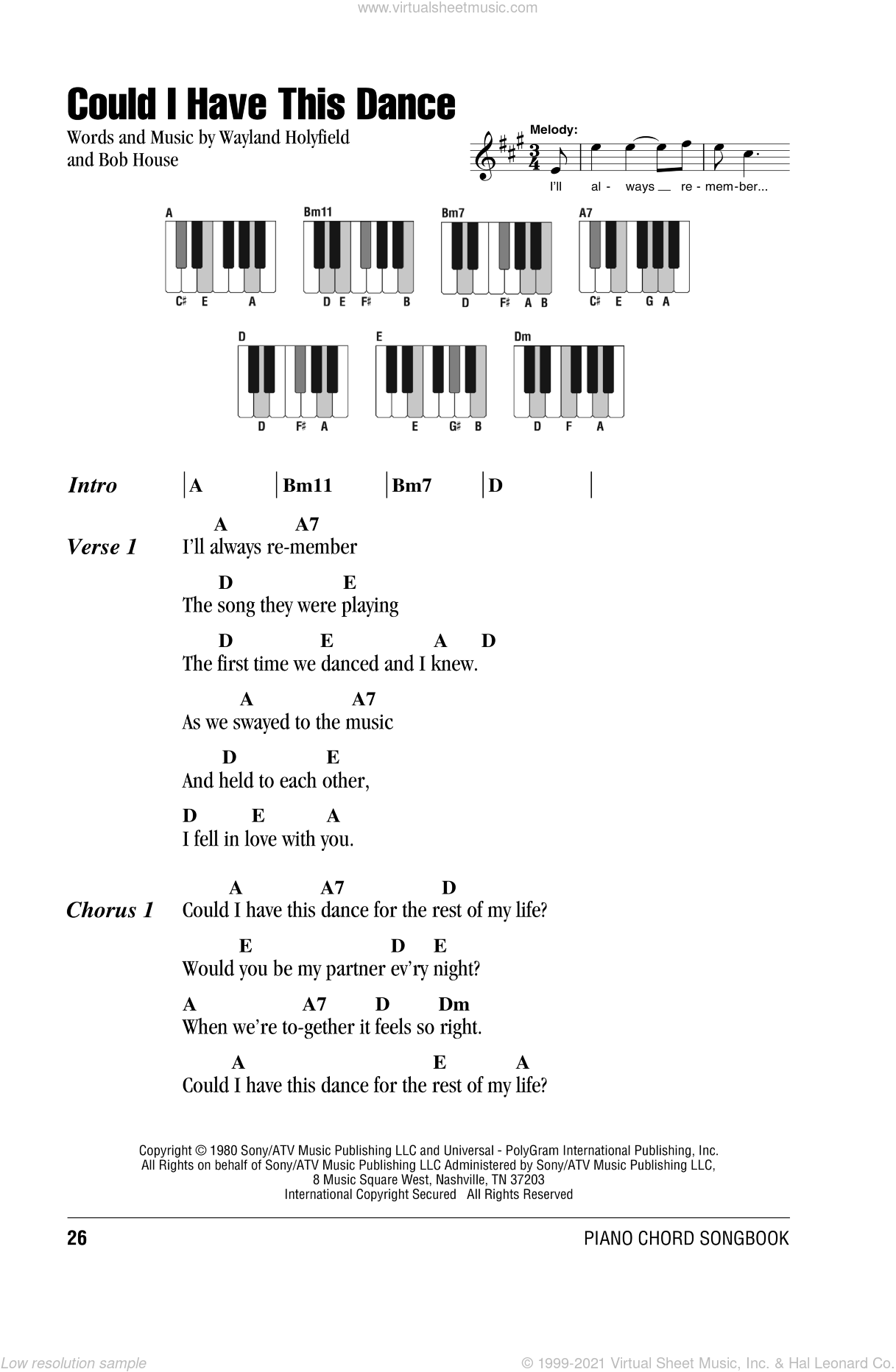 Could I Have This Dance sheet music for piano solo (chords, lyrics, melody) by Wayland Holyfield