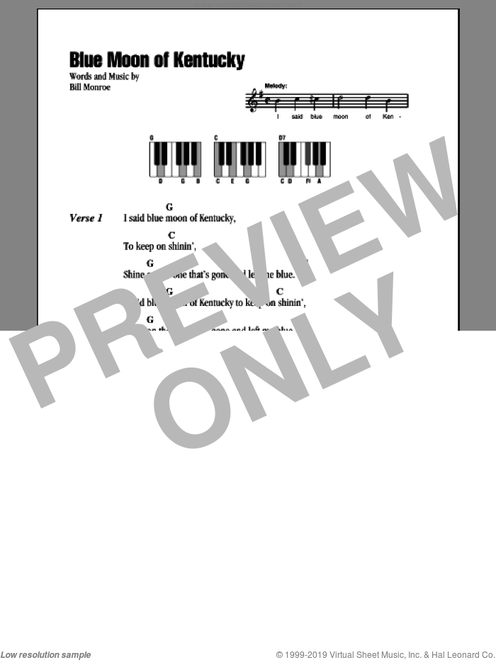 Blue Moon Of Kentucky sheet music for piano solo (chords, lyrics, melody) by Bill Monroe, intermediate piano (chords, lyrics, melody)