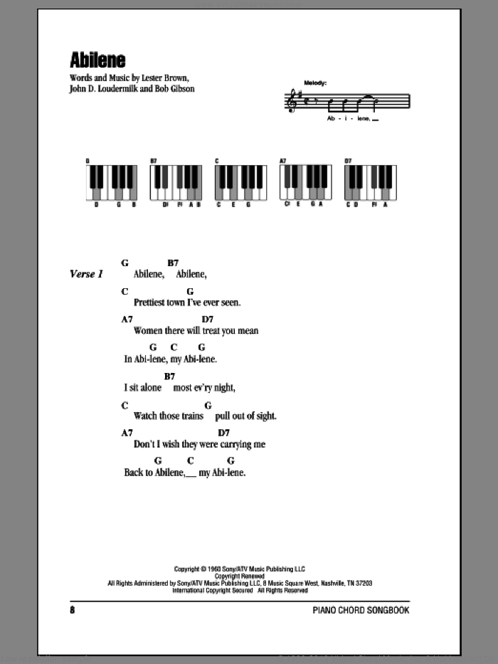 Abilene sheet music for piano solo (chords, lyrics, melody) by George Hamilton IV, intermediate piano (chords, lyrics, melody). Score Image Preview.