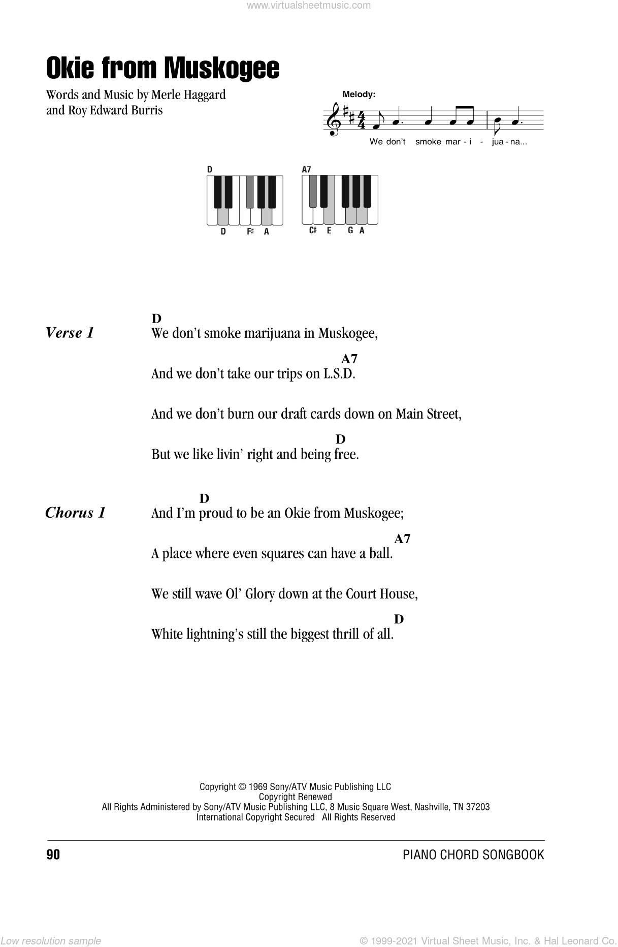 Okie From Muskogee sheet music for piano solo (chords, lyrics, melody) by Roy Edward Burris and Merle Haggard. Score Image Preview.