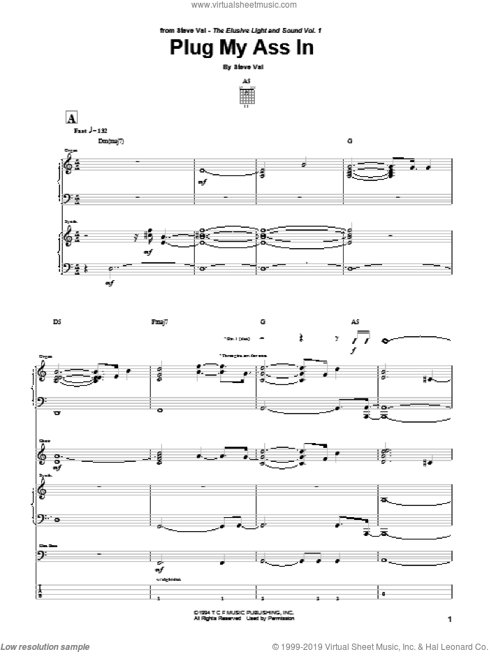 Plug My Ass In sheet music for guitar (tablature) by Steve Vai. Score Image Preview.