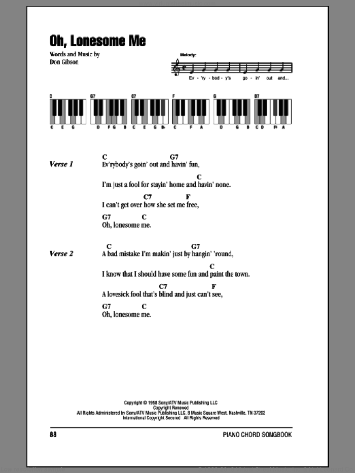 Oh, Lonesome Me sheet music for piano solo (chords, lyrics, melody) by Don Gibson, intermediate piano (chords, lyrics, melody)