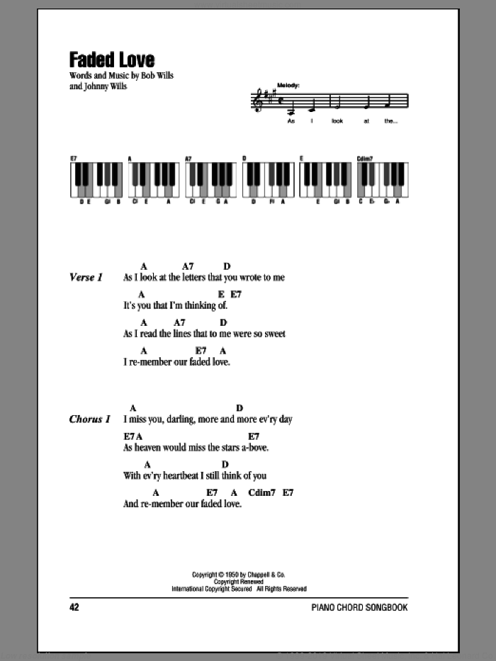 Faded Love sheet music for piano solo (chords, lyrics, melody) by Bob Wills and Johnny Wills. Score Image Preview.