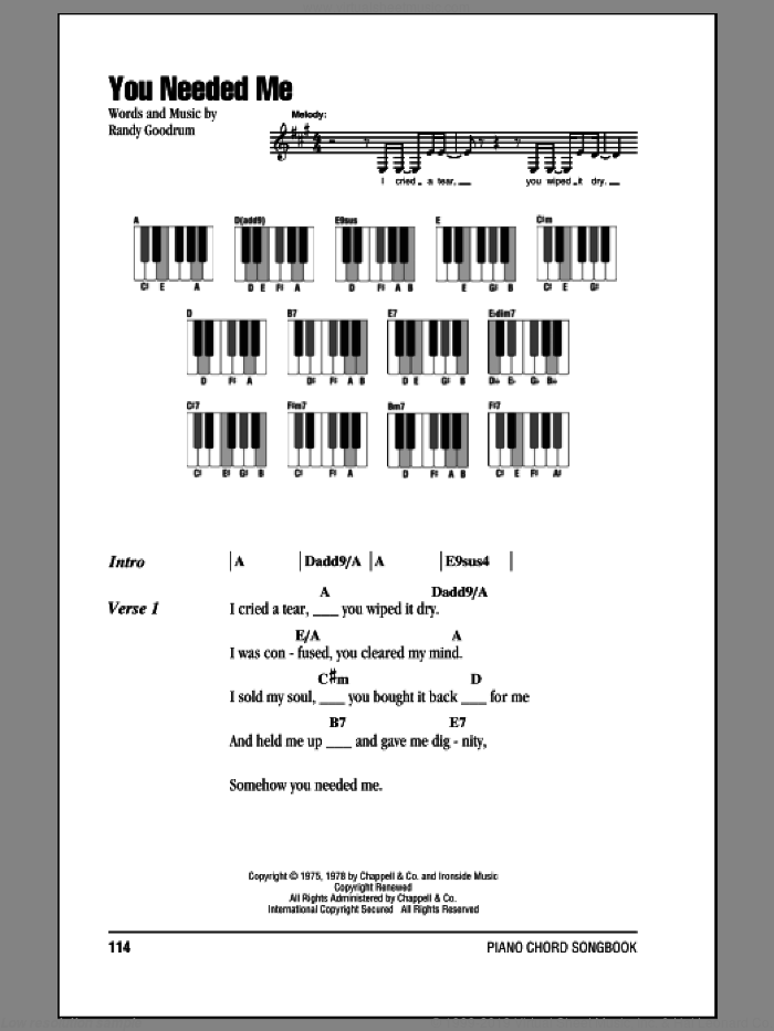 You Needed Me sheet music for piano solo (chords, lyrics, melody) by Randy Goodrum and Anne Murray
