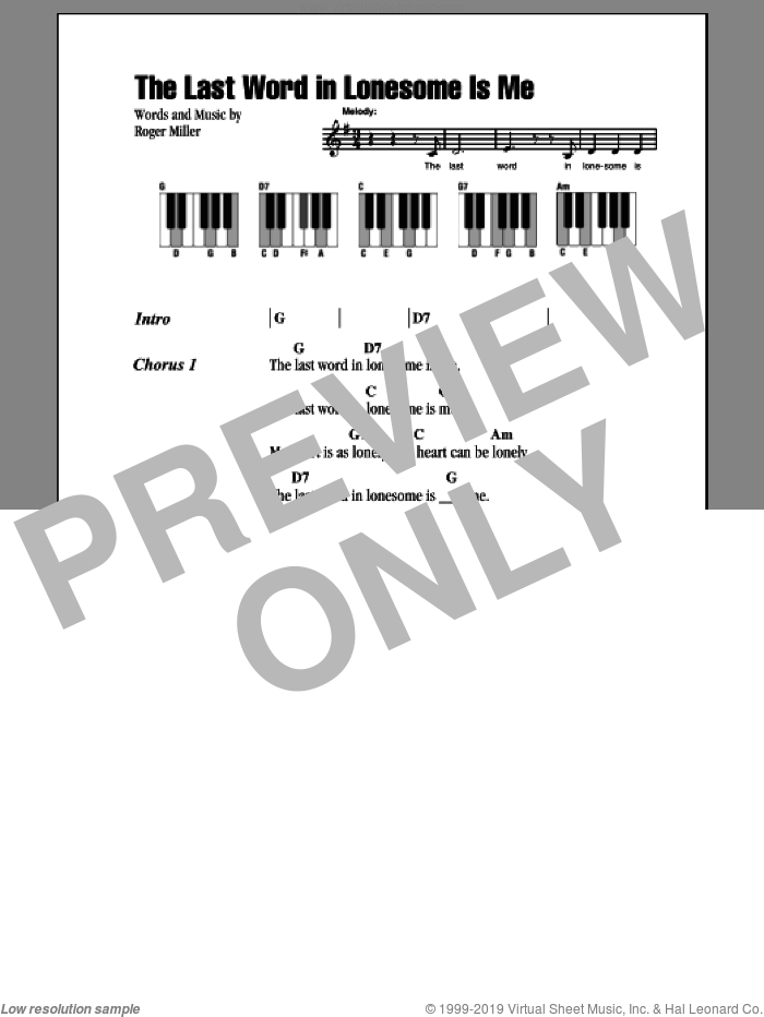 The Last Word In Lonesome Is Me sheet music for piano solo (chords, lyrics, melody) by Eddy Arnold and Roger Miller