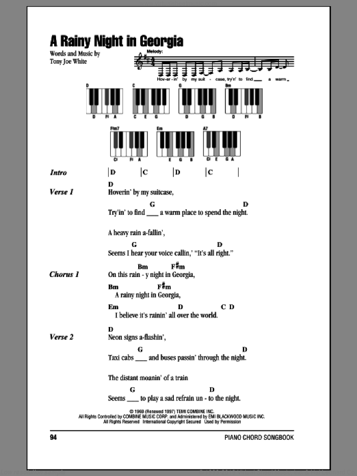 A Rainy Night In Georgia sheet music for piano solo (chords, lyrics, melody) by Brook Benton and Tony Joe White, intermediate piano (chords, lyrics, melody)