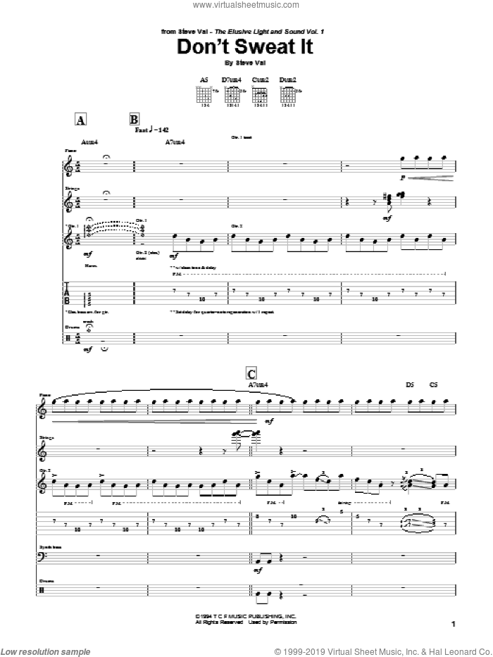 Don't Sweat It sheet music for guitar (tablature) by Steve Vai. Score Image Preview.