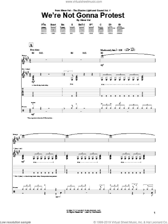 We're Not Gonna Protest sheet music for guitar (tablature) by Steve Vai, intermediate. Score Image Preview.