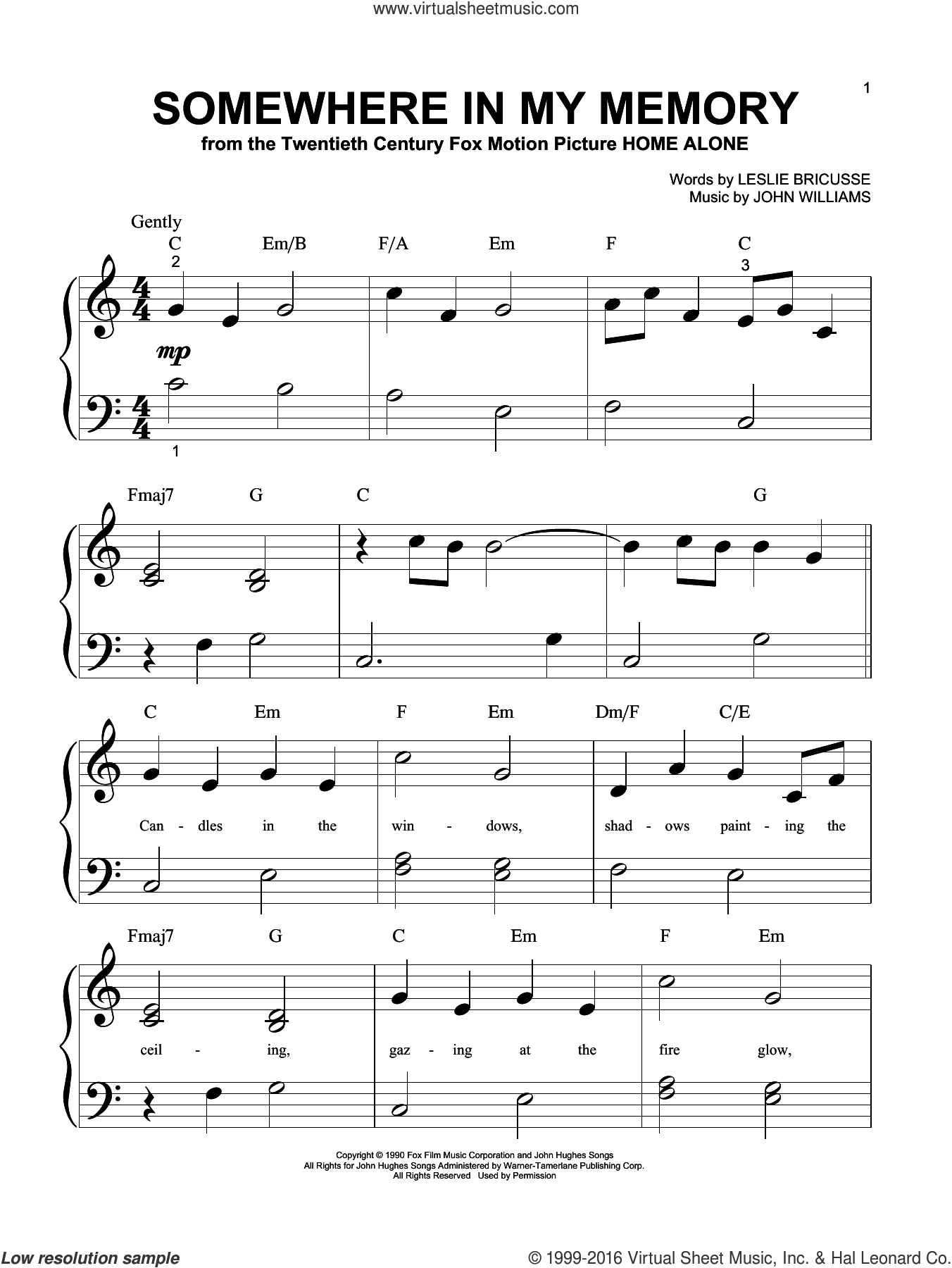 Somewhere In My Memory sheet music for piano solo (big note book) by Leslie Bricusse, Bette Midler and John Williams. Score Image Preview.