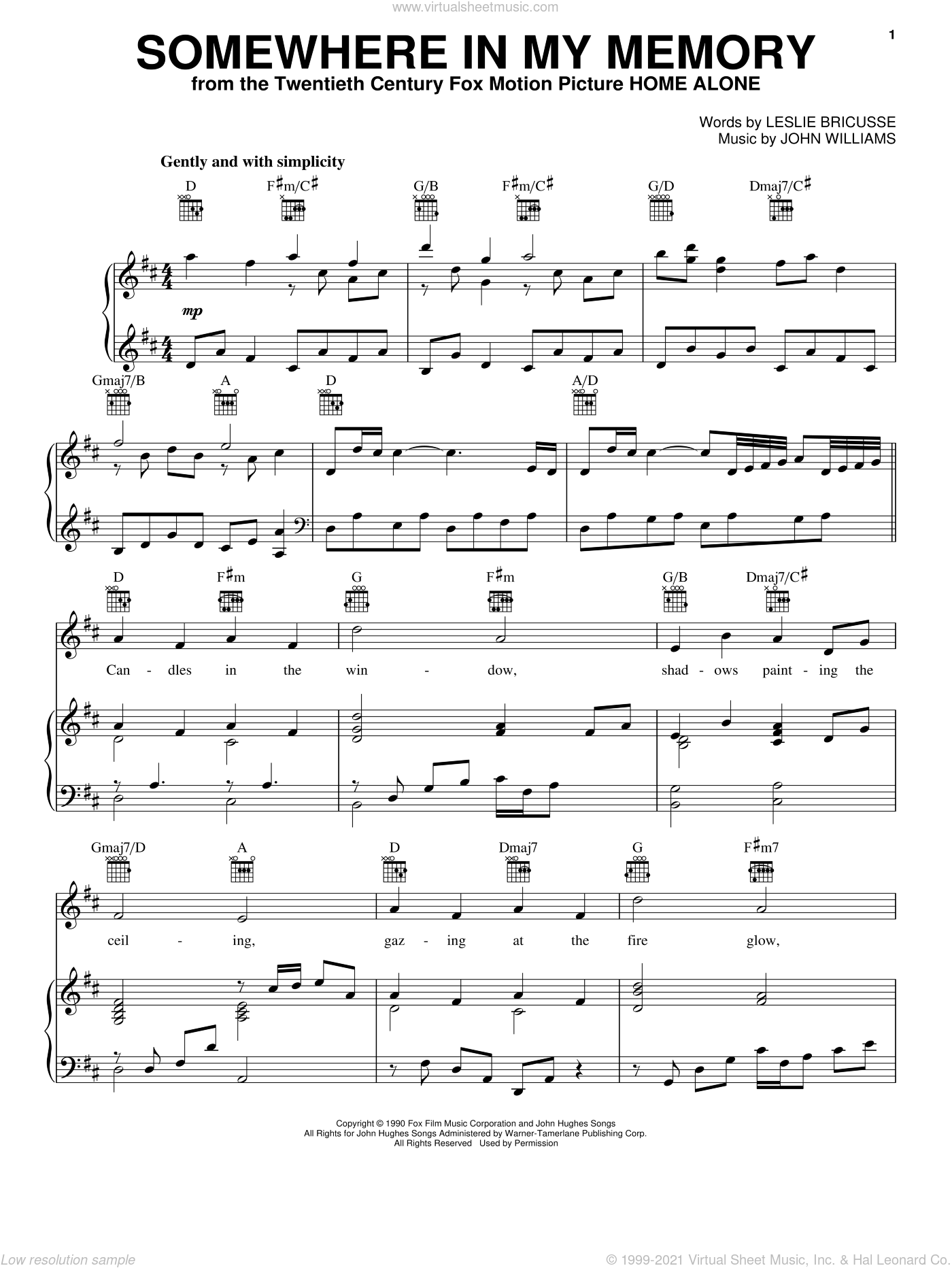 Somewhere In My Memory sheet music for voice, piano or guitar by Bette Midler, John Williams and Leslie Bricusse, intermediate skill level