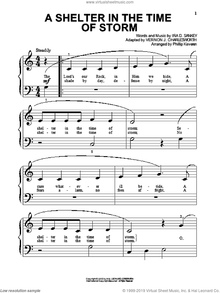 A Shelter In The Time Of Storm sheet music for piano solo (big note book) by Ira D. Sankey and Phillip Keveren. Score Image Preview.