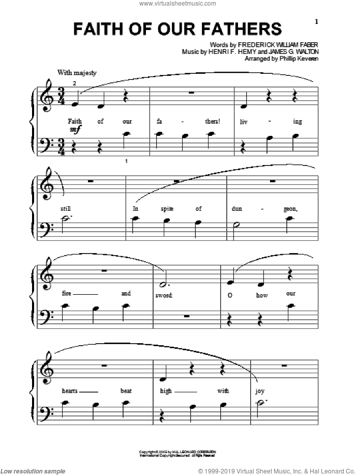 Faith Of Our Fathers sheet music for piano solo (big note book) by James G. Walton, Phillip Keveren and Henri F. Hemy. Score Image Preview.