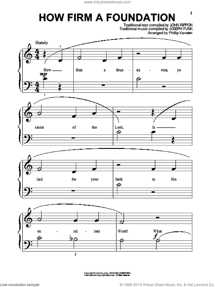 How Firm A Foundation sheet music for piano solo (big note book) by Joseph Funk, Phillip Keveren and John Rippon. Score Image Preview.