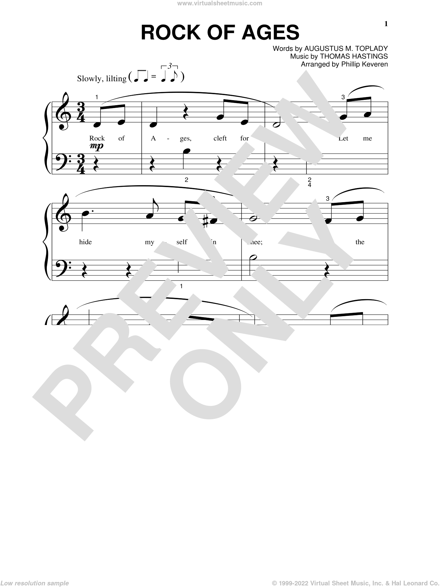 Rock Of Ages sheet music for piano solo (big note book) by Augustus M. Toplady, Phillip Keveren, Thomas Cotterill and Thomas Hastings, easy piano (big note book). Score Image Preview.