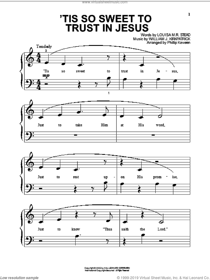 'Tis So Sweet To Trust In Jesus sheet music for piano solo (big note book) by Louisa M.R. Stead, Phillip Keveren and William J. Kirkpatrick. Score Image Preview.
