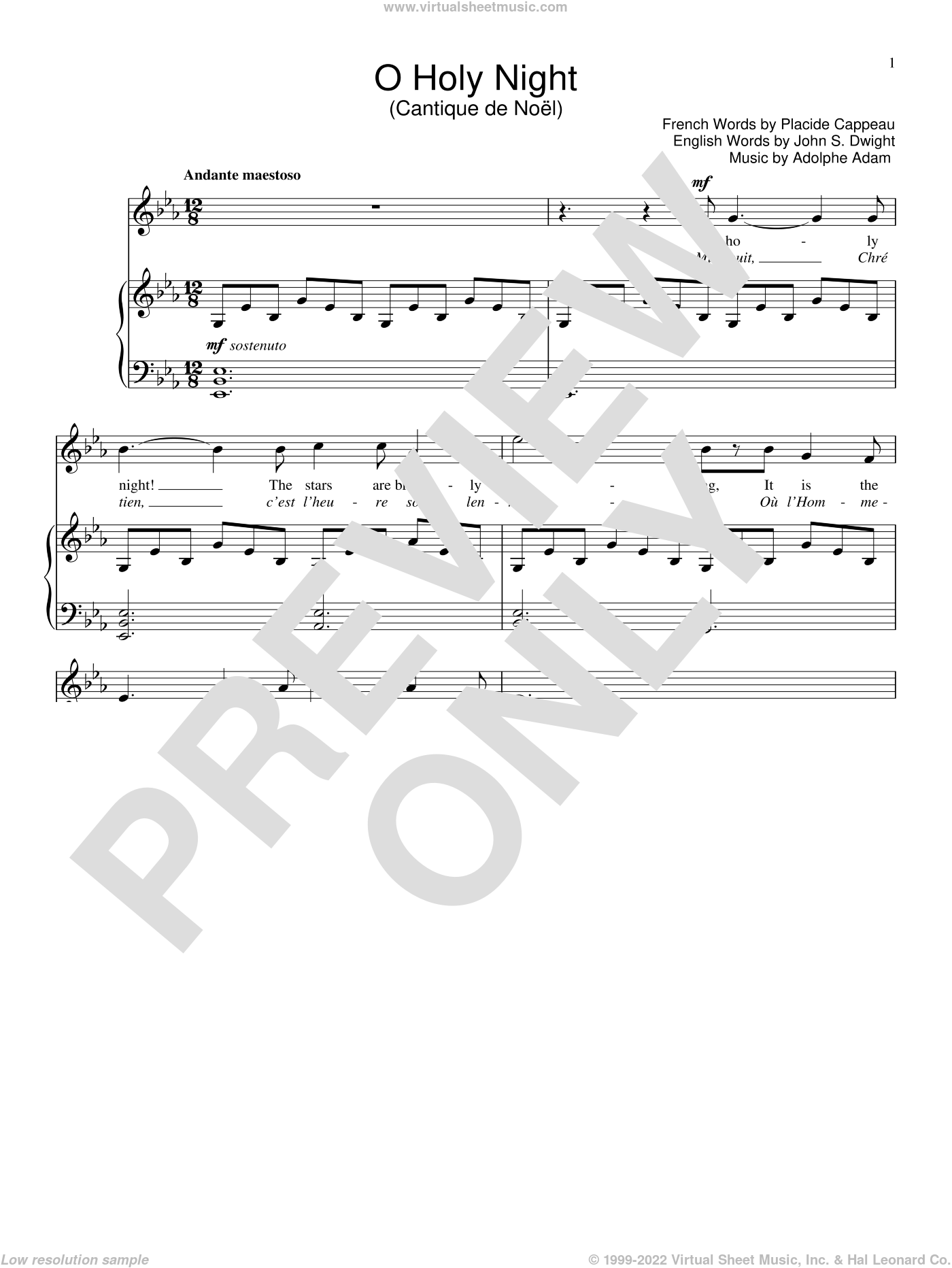 O Holy Night sheet music for voice and piano by Adolphe Adam and John S. Dwight, intermediate. Score Image Preview.