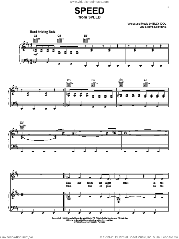 Speed sheet music for voice, piano or guitar by Steve Stevens