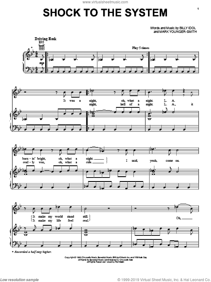 Shock To The System sheet music for voice, piano or guitar by Mark Younger-Smith and Billy Idol. Score Image Preview.