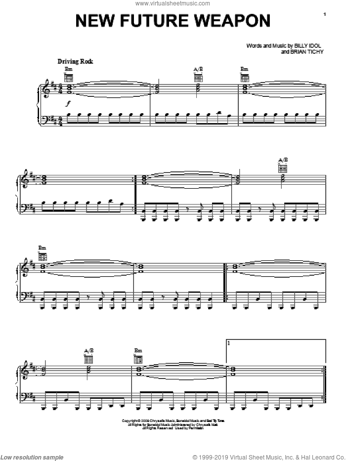 New Future Weapon sheet music for voice, piano or guitar by Brian Tichy and Billy Idol. Score Image Preview.
