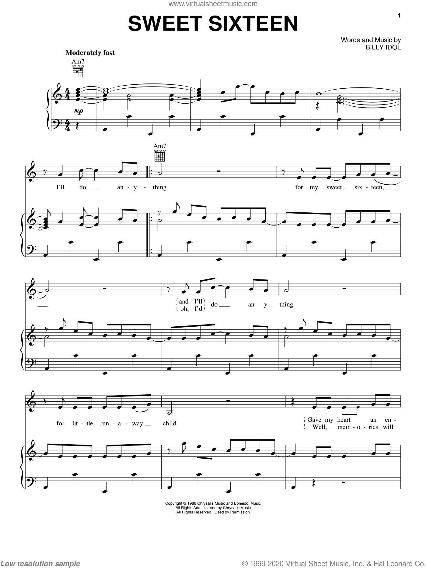 Sweet Sixteen sheet music for voice, piano or guitar by Billy Idol