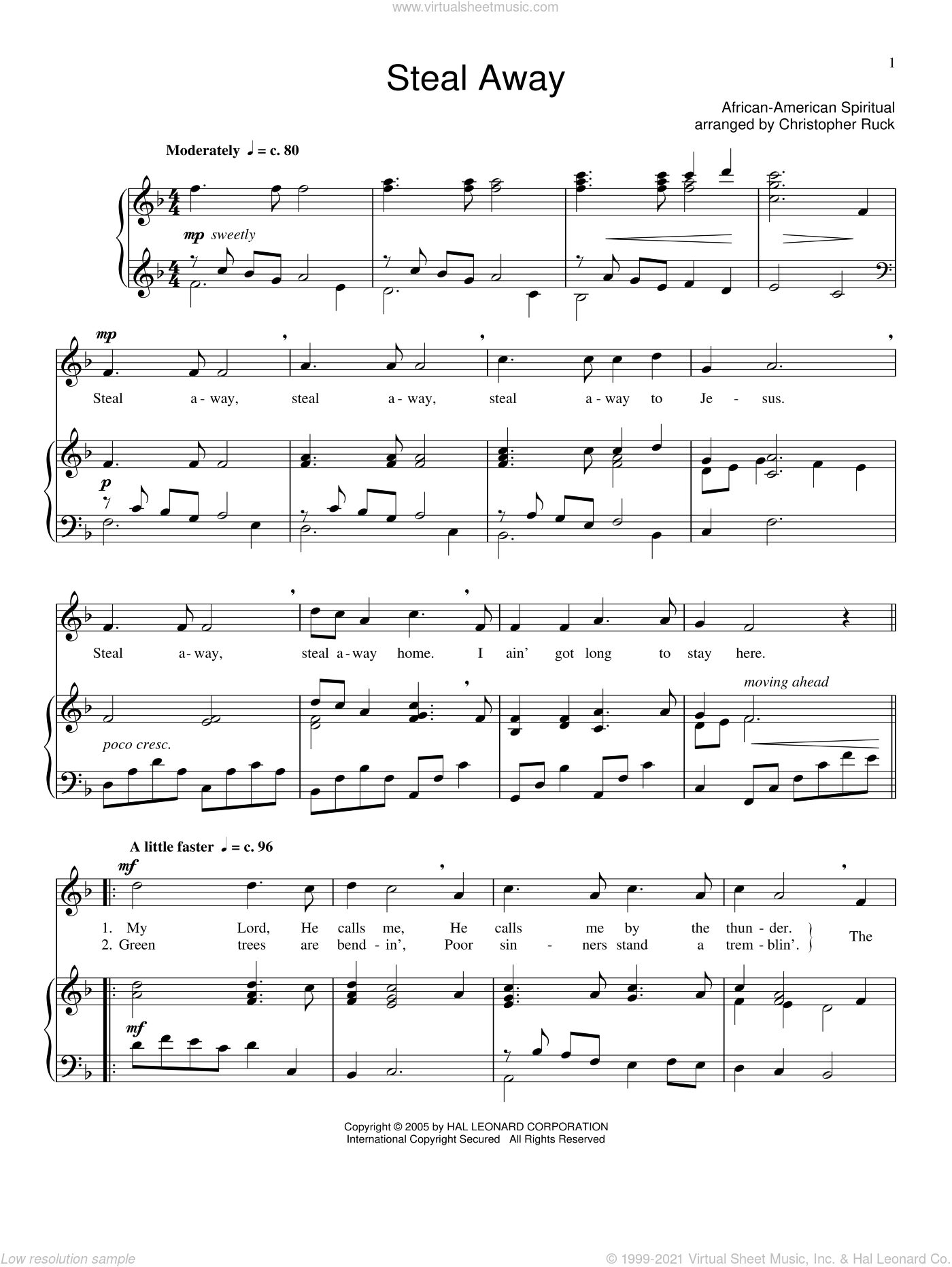 Steal Away sheet music for voice and piano. Score Image Preview.