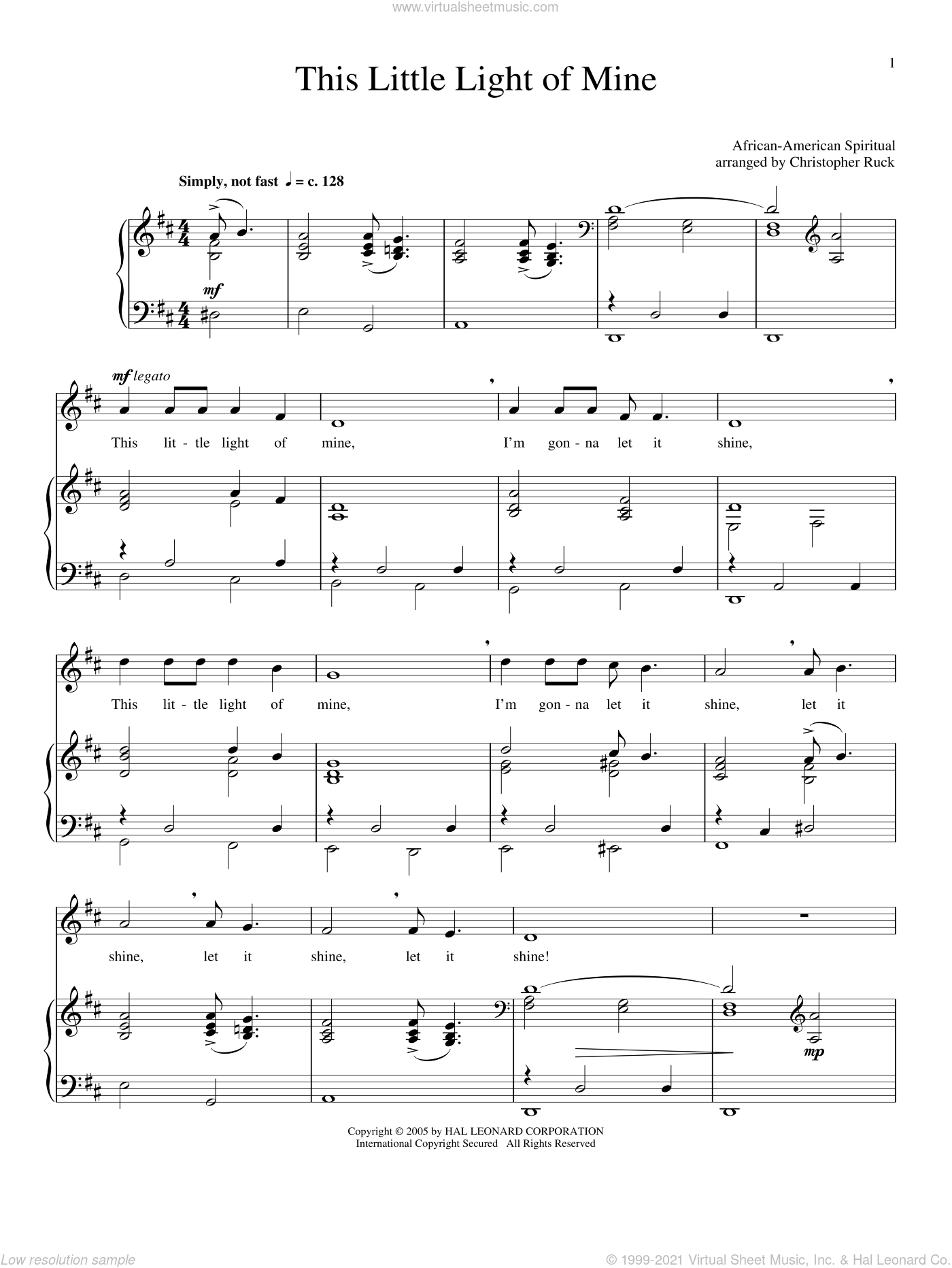 This Little Light Of Mine sheet music for voice and piano. Score Image Preview.