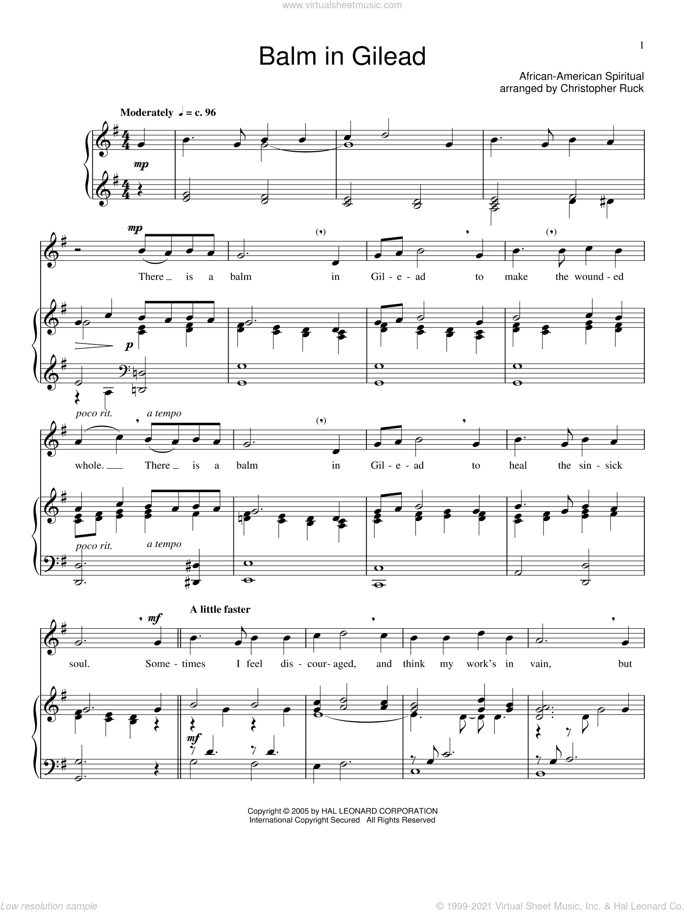 Balm In Gilead sheet music for voice and piano, intermediate voice. Score Image Preview.