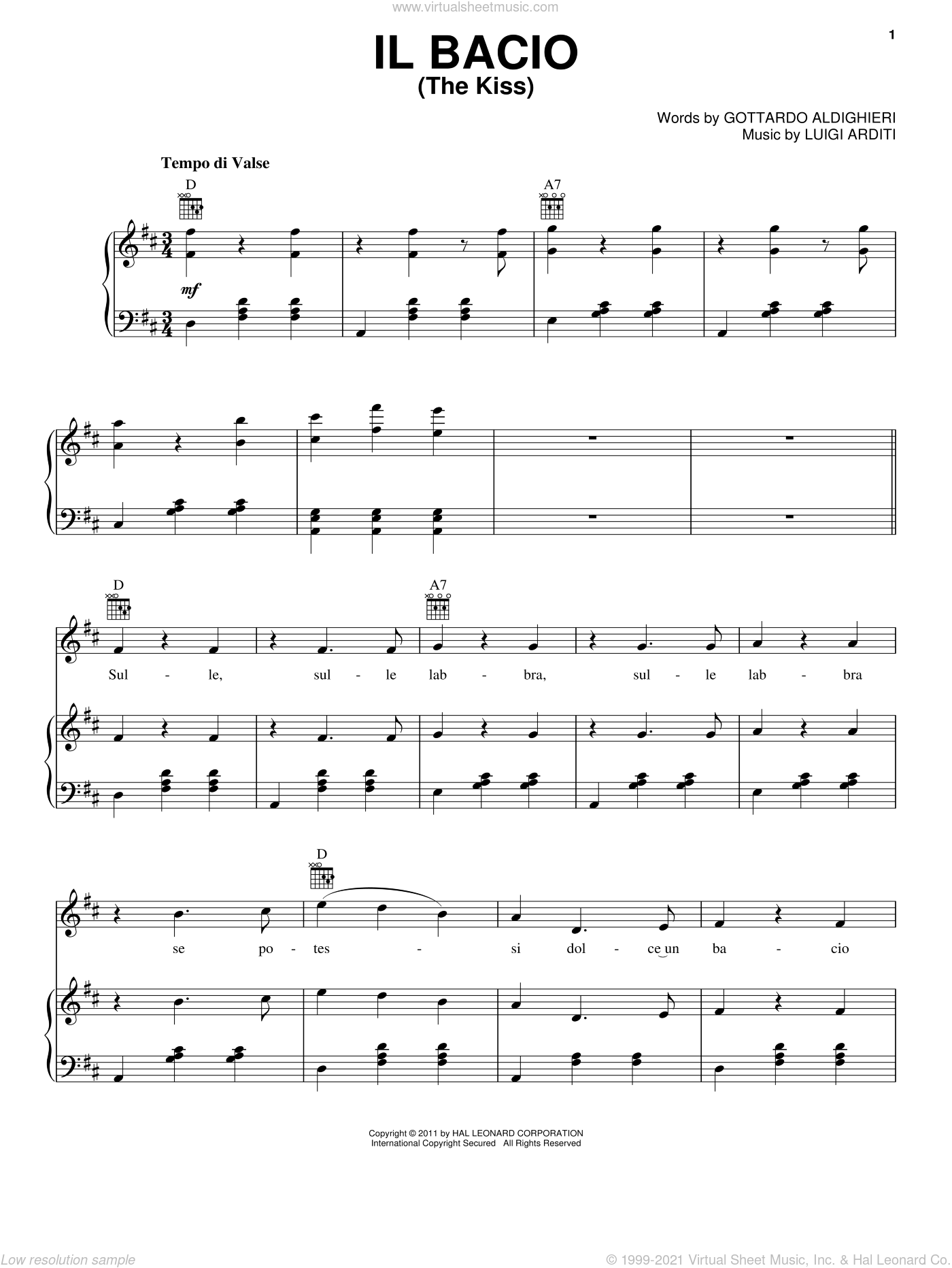 Il Bacio (The Kiss) sheet music for voice, piano or guitar by Luigi Arditi, classical score, intermediate skill level