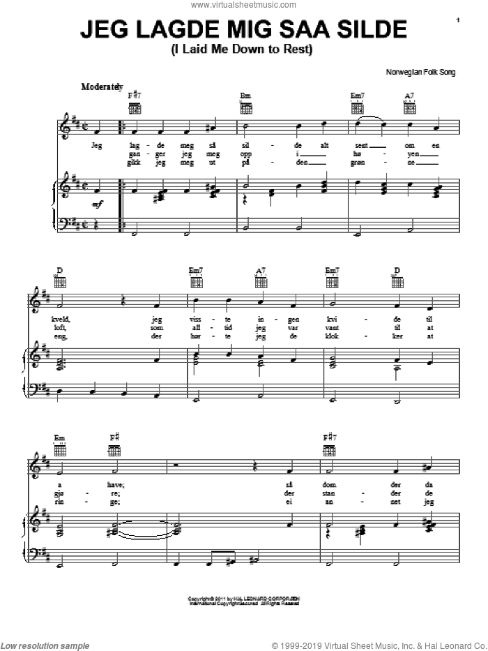 Jeg Lagde Mig Saa Silde (I Laid Me Down To Rest) sheet music for voice, piano or guitar by Norwegian Folksong, intermediate skill level