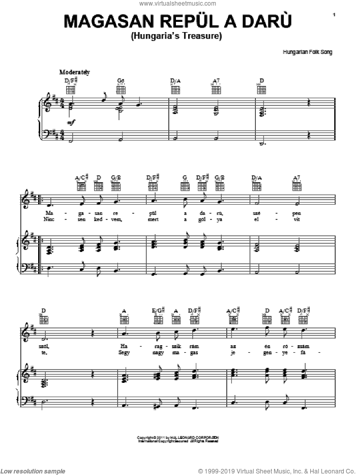 Magasan Repul A Daru (Hungaria's Treasure) sheet music for voice, piano or guitar by Hungarian Folksong. Score Image Preview.