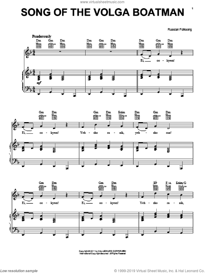 Song Of The Volga Boatman sheet music for voice, piano or guitar. Score Image Preview.