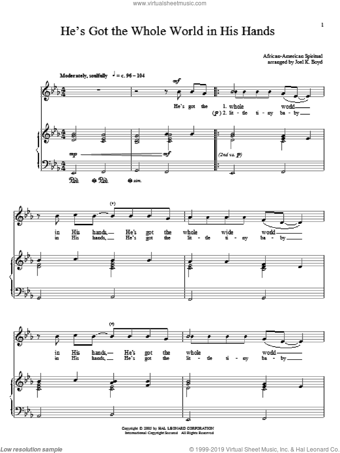 He's Got The Whole World In His Hands sheet music for voice and piano, intermediate skill level