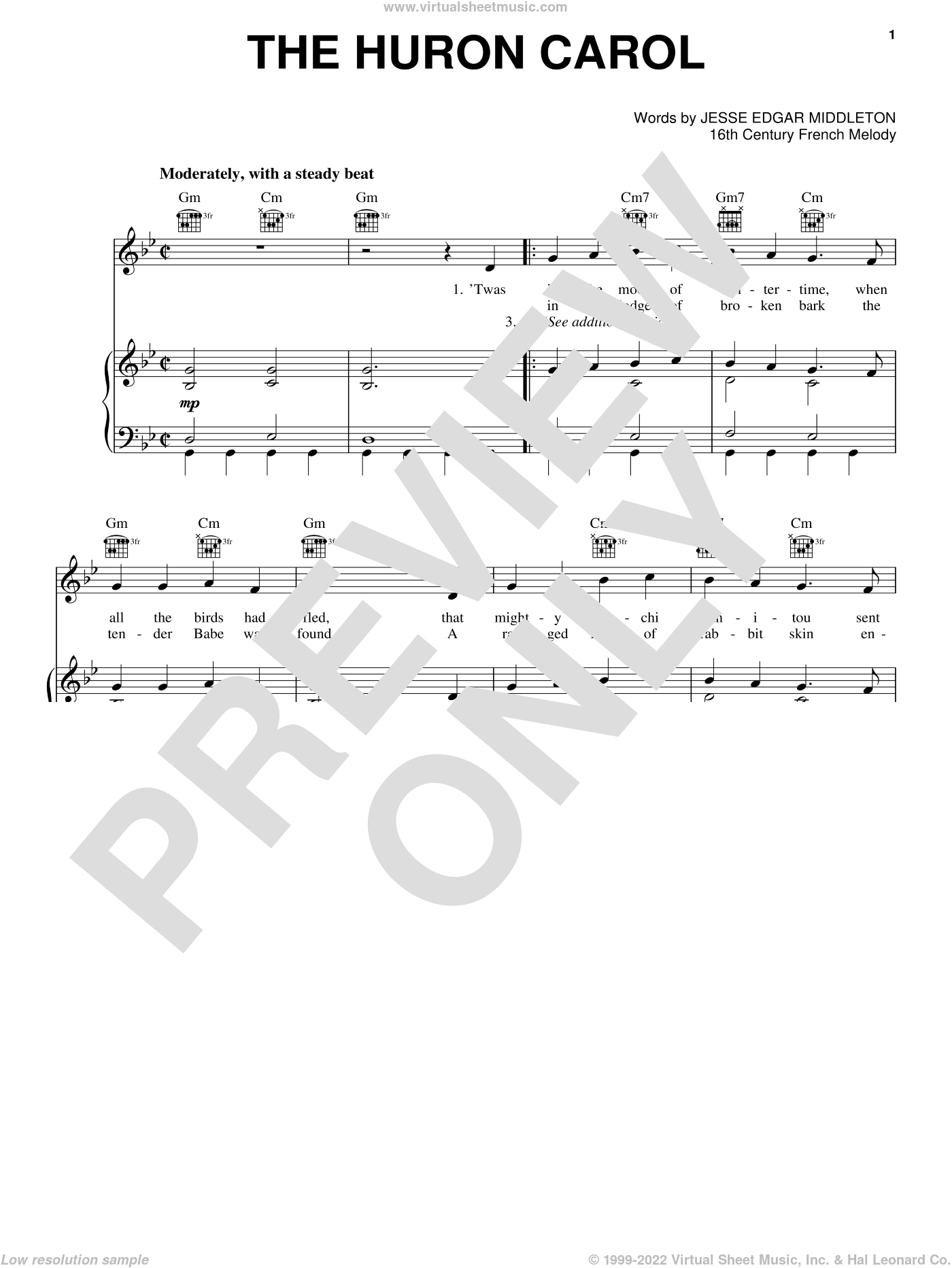 The Huron Carol sheet music for voice, piano or guitar, intermediate. Score Image Preview.