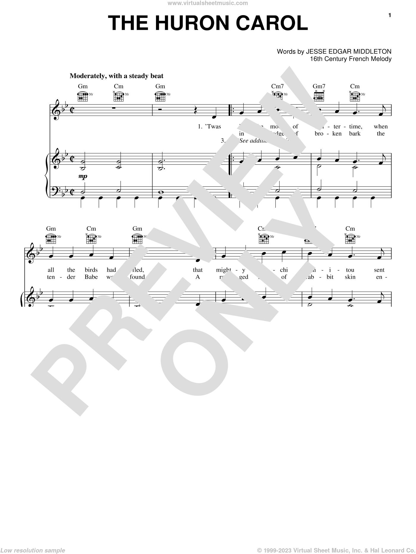 The Huron Carol sheet music for voice, piano or guitar, intermediate skill level