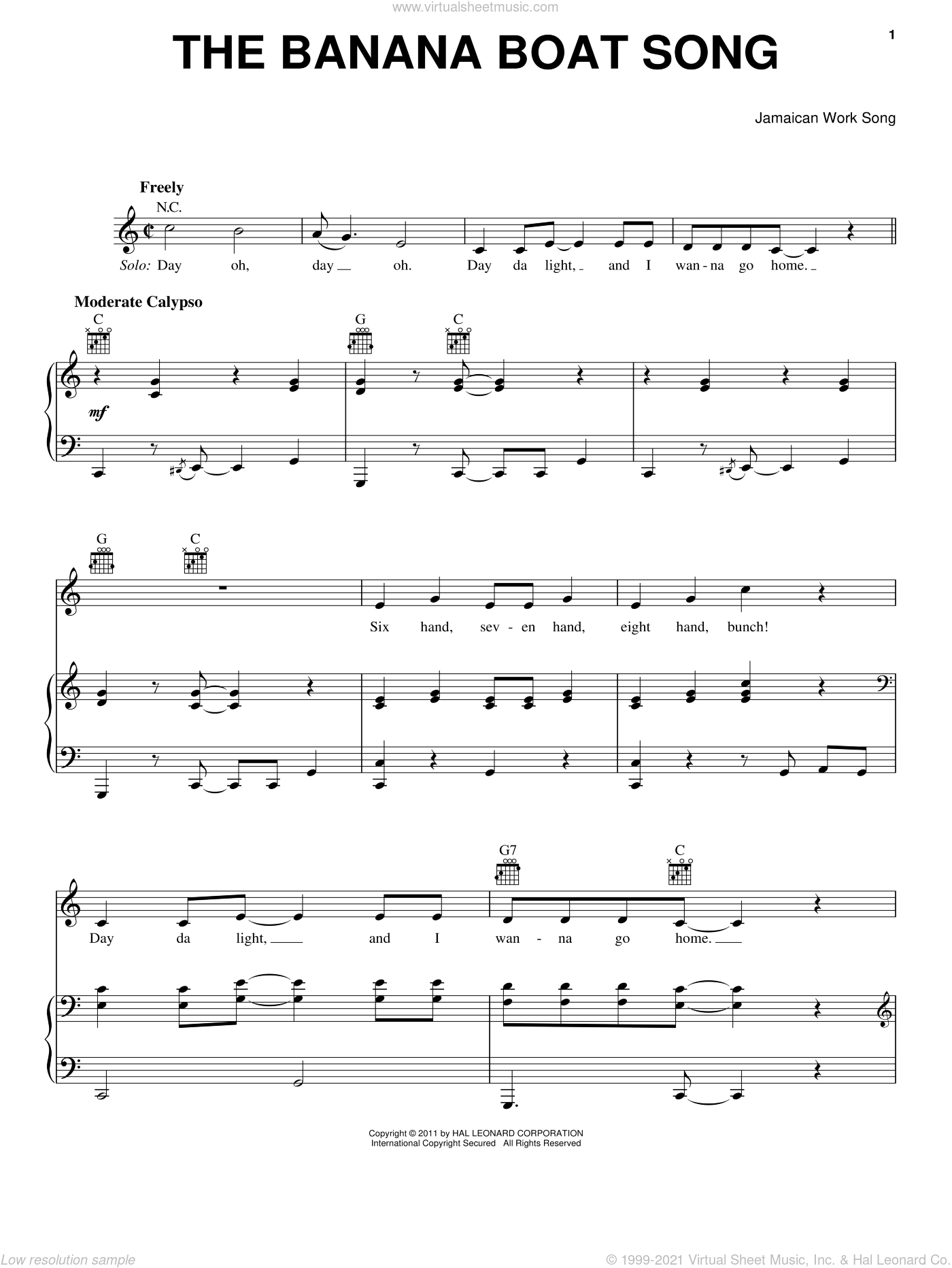The Banana Boat Song (Day-O) sheet music for voice, piano or guitar, intermediate skill level