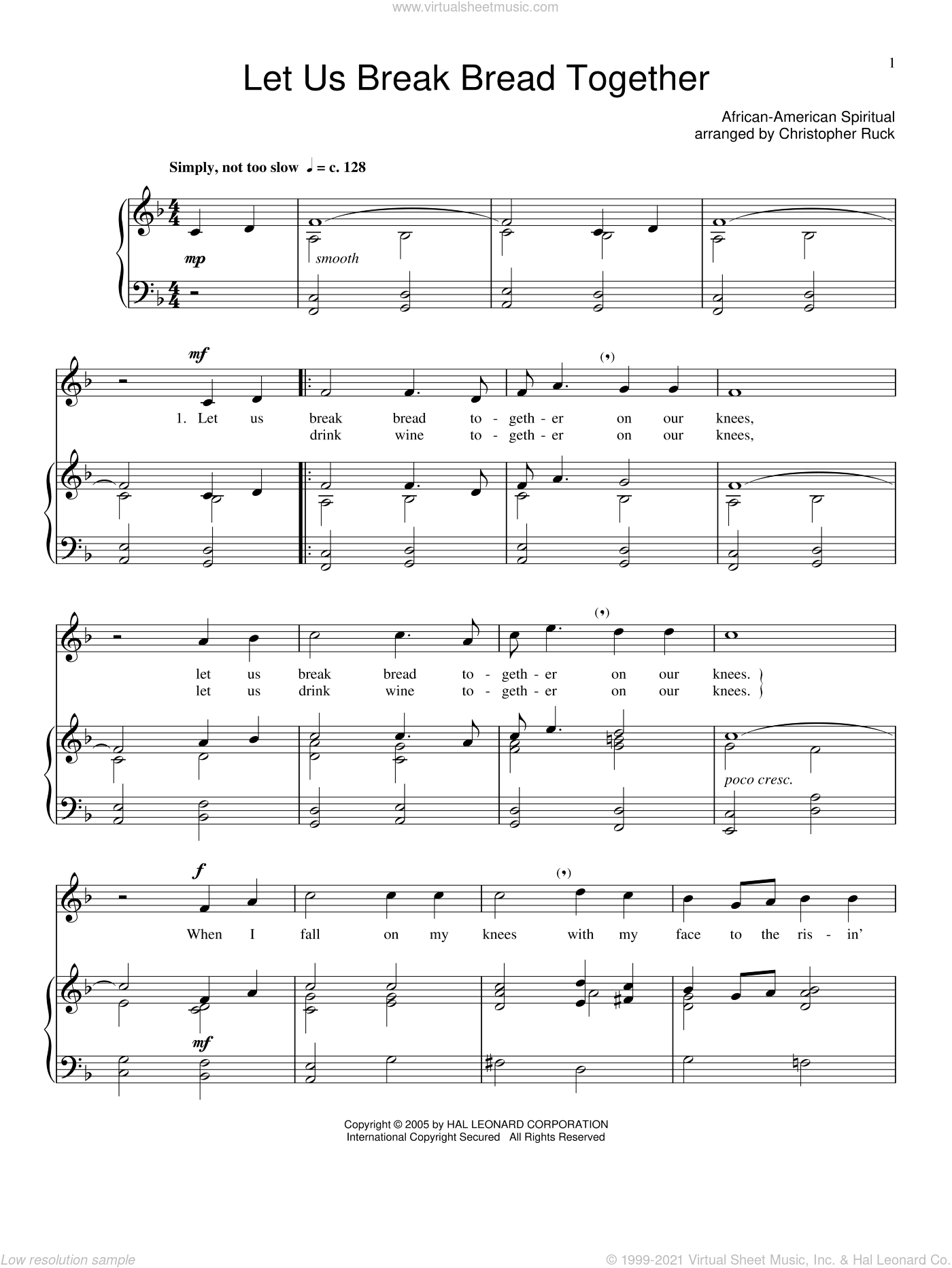 Let Us Break Bread Together sheet music for voice and piano, intermediate skill level