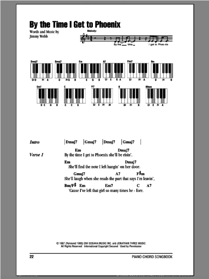 By The Time I Get To Phoenix sheet music for piano solo (chords, lyrics, melody) by Glen Campbell and Jimmy Webb, intermediate piano (chords, lyrics, melody)
