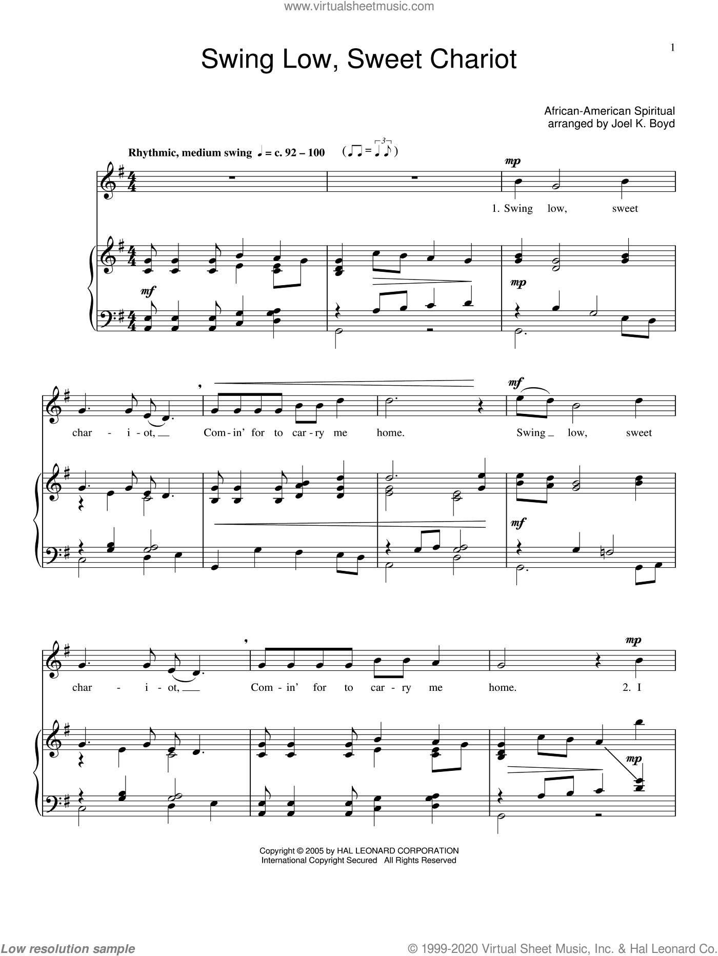 Swing Low, Sweet Chariot sheet music for voice, piano or guitar. Score Image Preview.